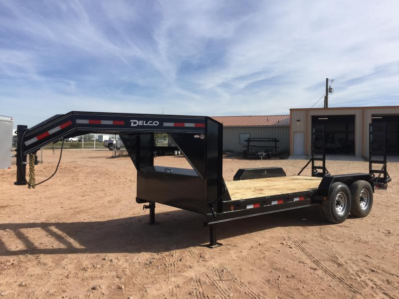 2019 Delco 18' Gooseneck Trailer w/ Stand Up Ramps