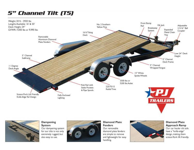 2019 PJ 20' [T5] Tilt Equipment Car Hauler