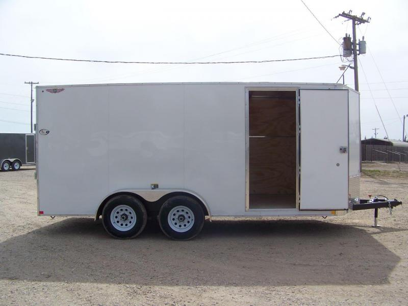 2019 H and H Trailer 7X16 TANDEM FLAT TOP HH VNOSE 7K CARGO