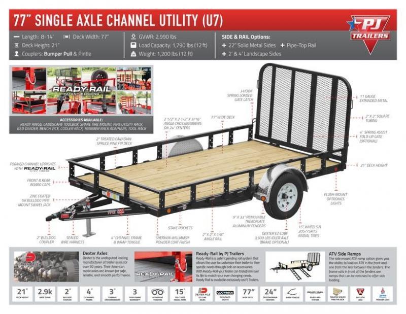 2020 PJ Trailers 77 in. Single Axle Channel Utility (U7) Utility Trailer