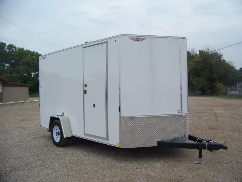 2019 H and H Trailer 7X12 SINGLE FLAT TOP HH VNOSE 3.5K CARGO