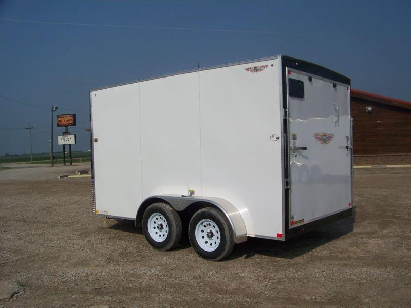 2019 H and H Trailer 7X12 TANDEM FLAT TOP HH VNOSE 7K CARGO