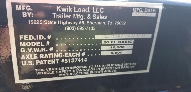 2018 Kwik Load 7x20 Steel Deck Car Hauler 10K