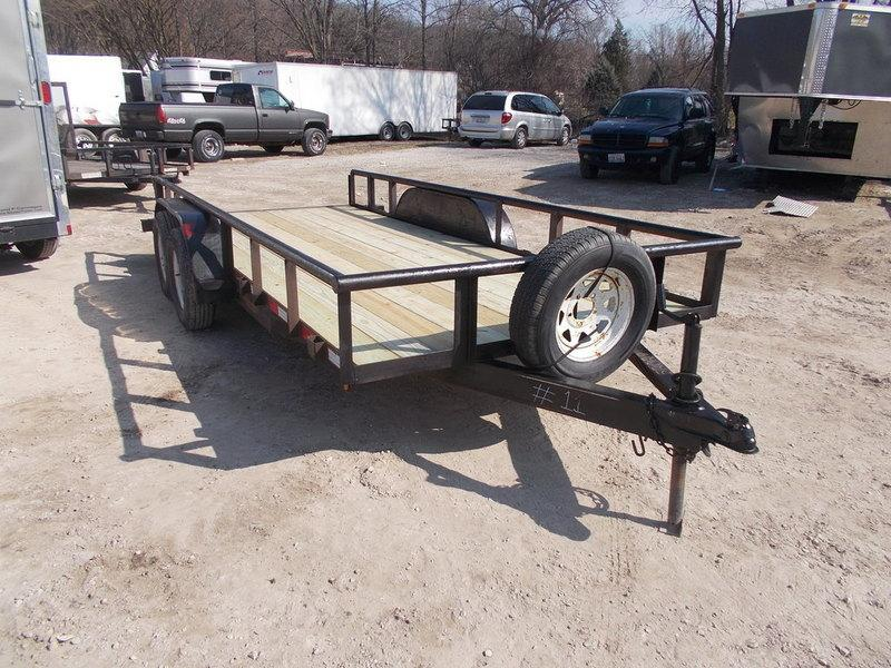 FOR RENT ONLY #11 77x16 M.E.B. Utility Trailer w/Board Holders