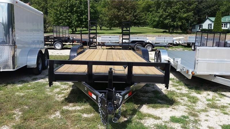 2018 M.E.B. 7x20 Wood Deck Equipment Trailer w/Stand Up Ramps 12k