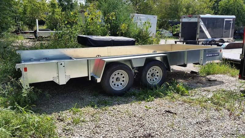 RENTAL #20 7x16 Sure Trac High Side Utility Trailer
