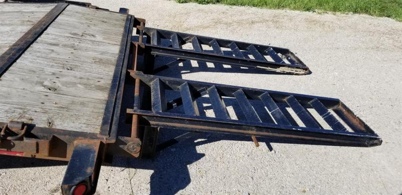 2011 Sure-Trac 7x20 Wood Deck Equipment Trailer w/Stand Up Ramps 10k