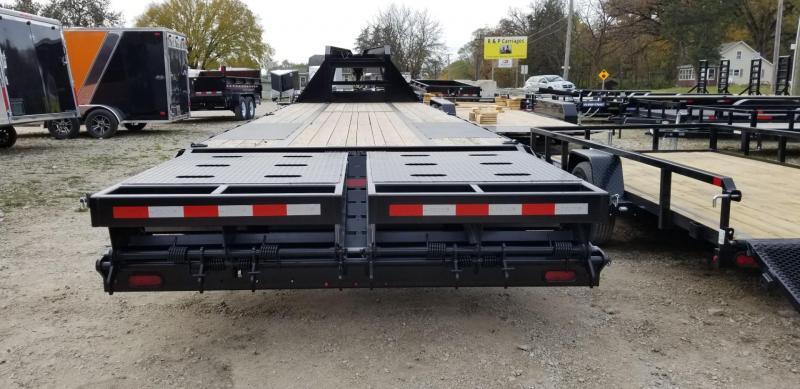 2019 Sure-Trac 8.5x25+5 Gooseneck Treated Deck Equipment Trailer Heavy Duty w/Full Width Ramps 20k