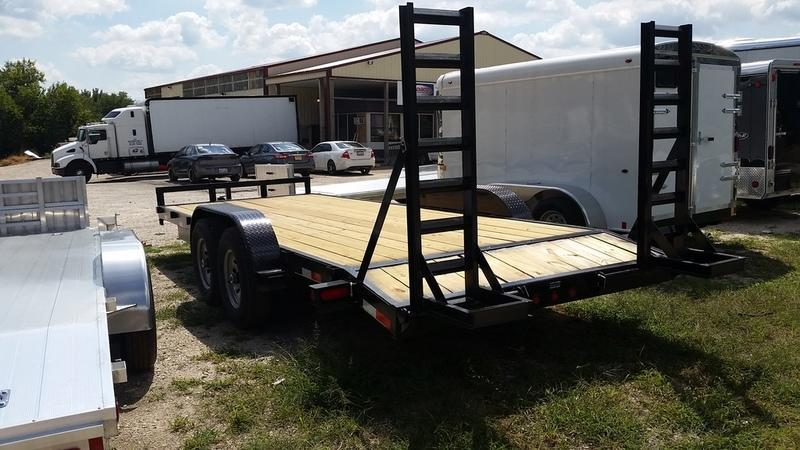 2019 M.E.B 7x20 Treated Wood Deck Equipment Trailer w/Stand Up Ramps 12K