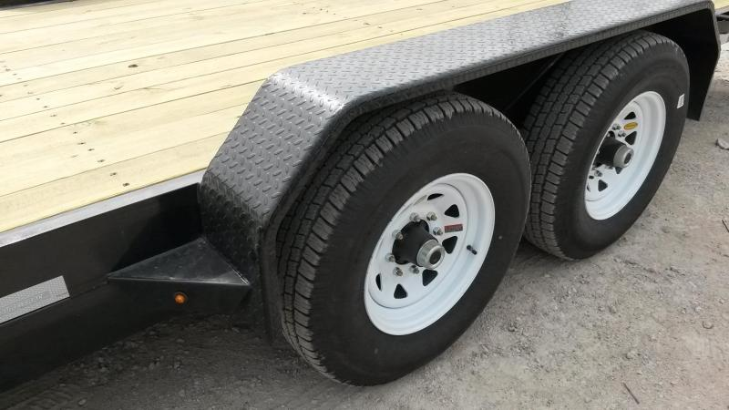 2019 Sure-Trac 7x20 Wood Deck Equipment Trailer w/Stand Up Ramps 14k
