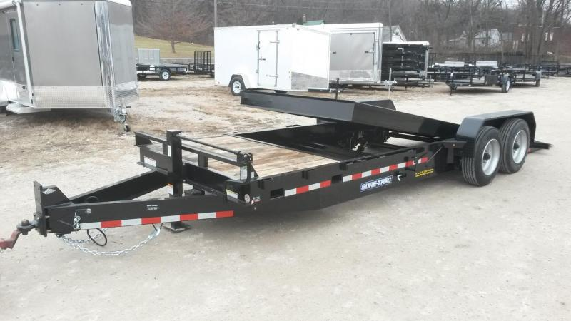 2019 Sure-Trac 7x18+4 Oak Wood Tilt Deck Equipment Trailer 16K