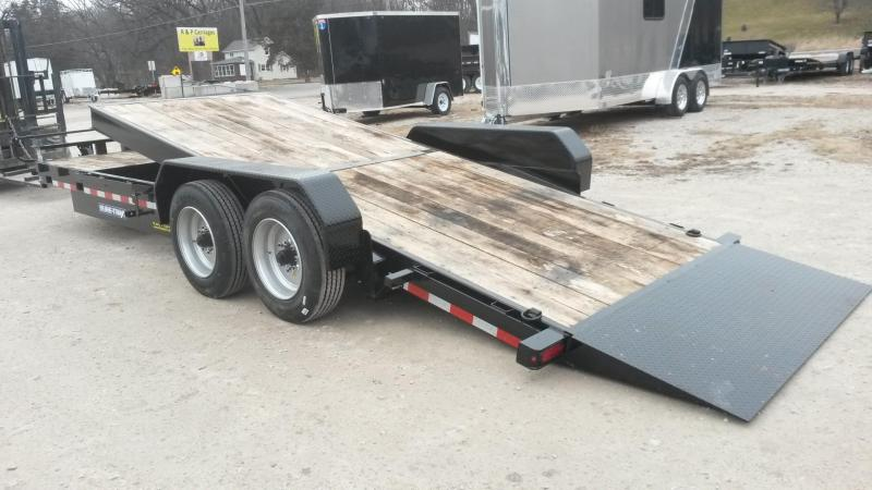2020 Sure-Trac 7x18+4 Oak Wood Tilt Deck Equipment Trailer w/Stationary 16K