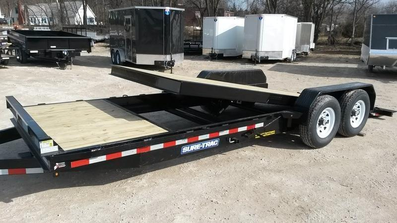 2019 Sure-Trac 7x18+4 Tilt Deck Equipment Trailer w/Stationary 14k