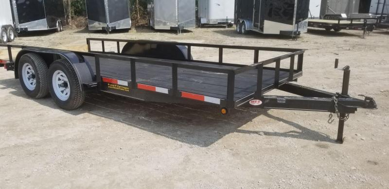 2019 M.E.B 6.4x16 Angle Iron Utility Trailer w/Slide Out Ramps & Brake 7k
