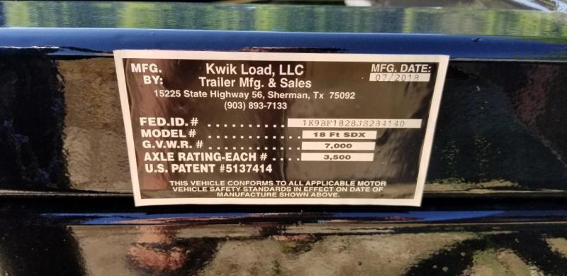 2018 Kwik Load 7x18 Steel Deck Car Hauler 7K