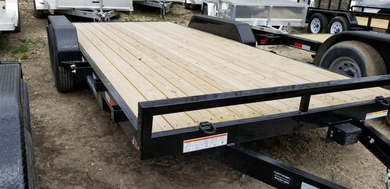 2019 Sure-Trac 7X18 Wood Deck Auto Hauler w/Slide Out Ramps 10k