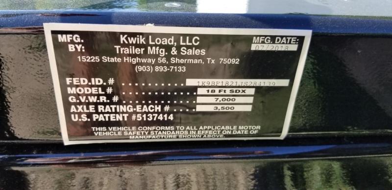 2018 Kwik Load 7x18 Steel Deck Car Hauler 7K