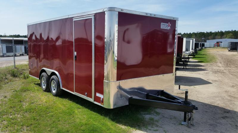 New 8.5x18 Construction Trailer Double Doors