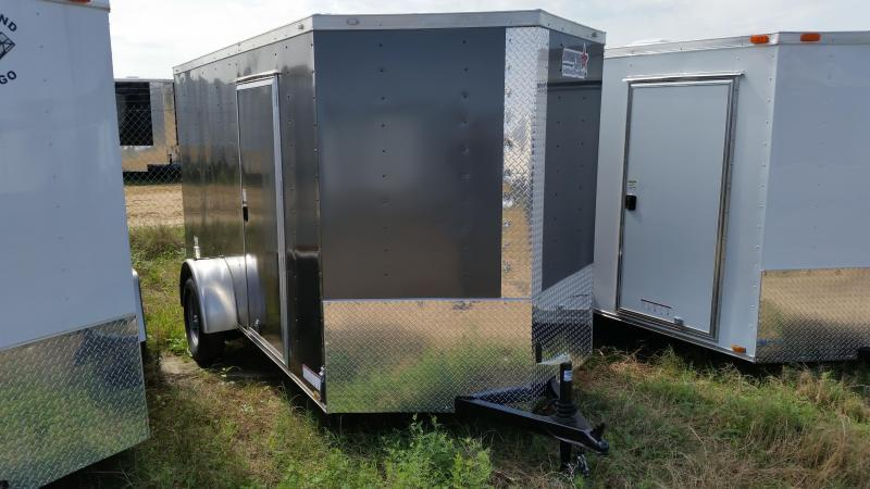New 6x12 SILVER Single Axle Enclosed Cargo Trailer in Ashburn, VA