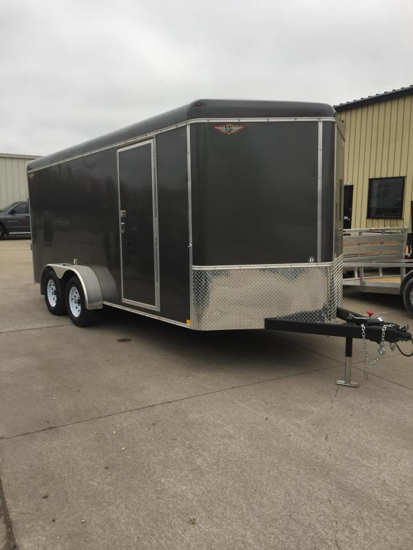 2019 H and H Trailer 7X16 TANDEM RND TOP CA VNOSE CARGO