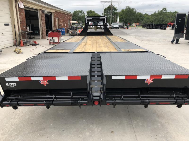 2020 20 Foot (20+5) TA PJ Trailers LD252 Equipment Trailer - Low Pro Gooseneck Flatdeck with Duals - Dovetail - Monster Ramps (GVW:  25000)