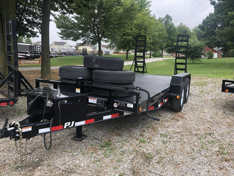 Used 2018 16 Ft 6 Inch Channel PJ Trailers CC162 Equipment Trailer - Fold Up Ramps - Steel Floor (GVW:  14000)