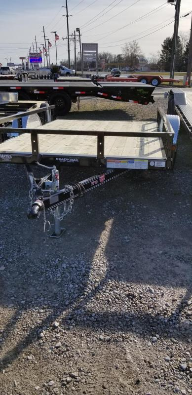 "2019 77x10 PJ Trailers U7 77"" Single Axle Channel Utility Trailer - Straight Deck w/ 5' Slide-in Ramps (GVW: 2995)"