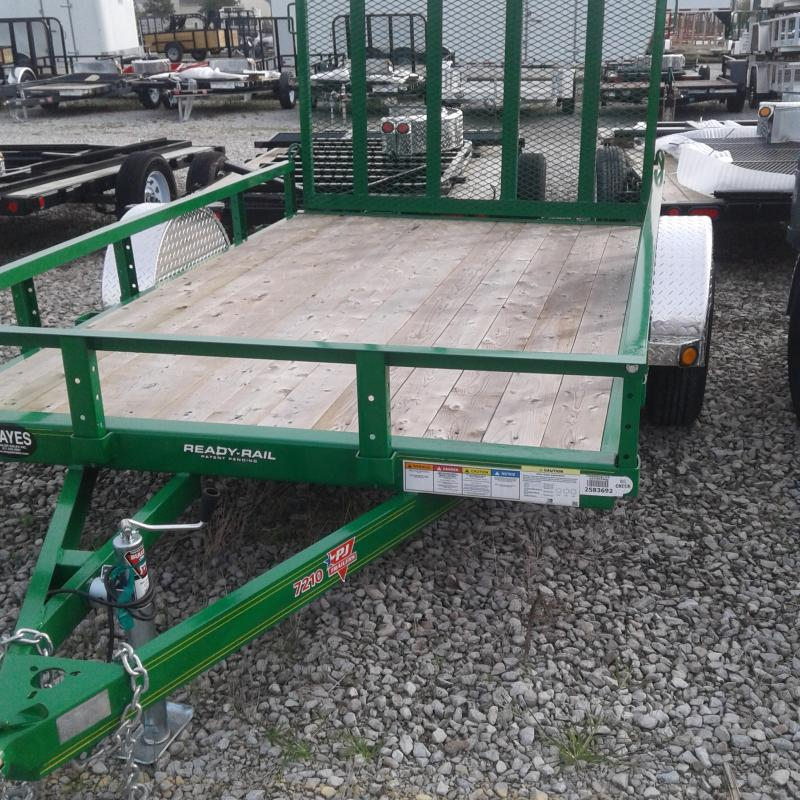 "2019 72x10 PJ Trailers U2 72"" Sngl Axle Channel Utility Trailer - Straight Deck w/ 4' Fold-up Gate (GVW: 2995) *Tractor Green*"