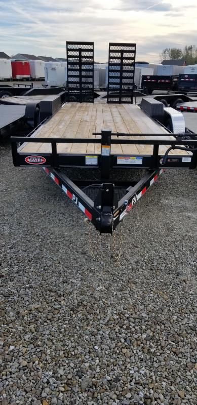 "2019 80x22(20+2' Dovetail) PJ Trailers C6 6"" Channel Equipment Trailer - w/ 31x66 HD Fold-up Ramps (GVW: 16000)"