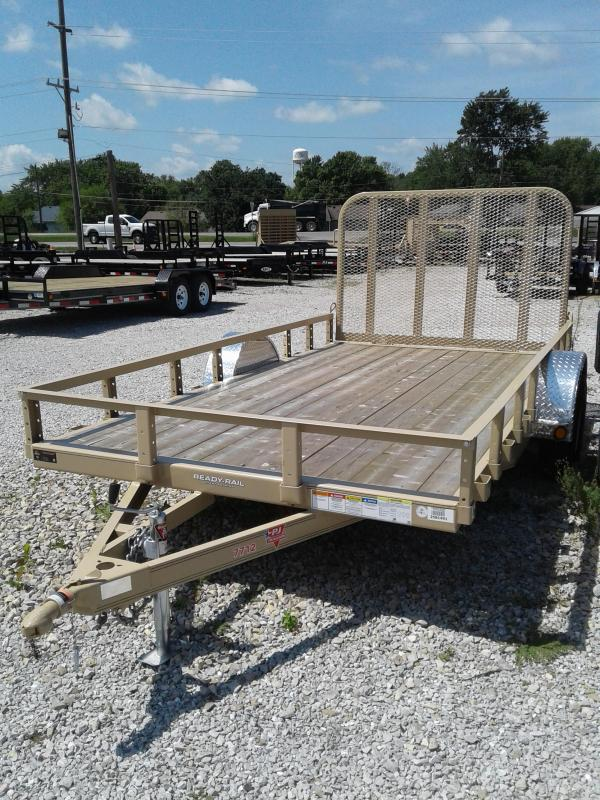 "2019 77x12 PJ Trailers U7 77"" Single Axle Channel Utility Trailer - Straight Deck w/ 4' Fold-up Gate (GVW: 2995) *Desert Tan*"