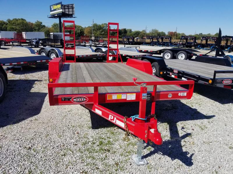 "2018 83x16(14+2' Dovetail) PJ Trailers CE 5"" Channel Equipment Trailer - w/ 5' Fold-up Ramps (GVW: 9899) *Red Powdercoat*"