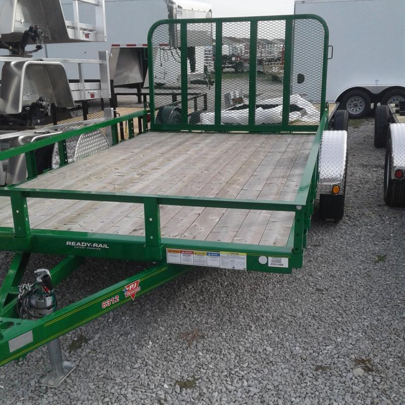 "2019 83x12 PJ Trailers U8 83"" Single Axle Channel Utility Trailer - Straight Deck w/ 4' Fold-up Gate (GVW: 2995) *Tractor Green*"