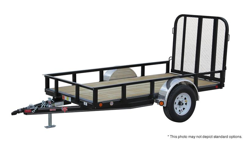 "2018 5x12 PJ Trailers U6 60"" Single Axle Channel Utility Trailer - Straight Deck w/ 4' Fold-up Gate (GVW: 2995) *Red Powdercoat**Black Spoke Wheels*"