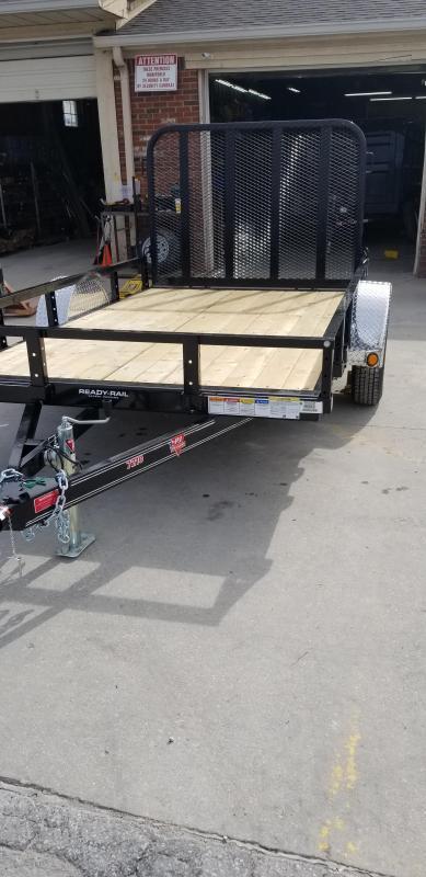 "2019 72x10 PJ Trailers U2 72"" Sngl Axle Channel Utility Trailer - Straight Deck w/ 4' Fold-up Gate (GVW: 2995)"