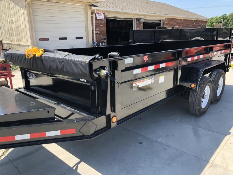 2020 83x16 TA Low Pro PJ Trailers DL162 Dump Trailer - Split Spread Gate - Tarp Kit - Spare Tire and Mount (GVW:  14000)