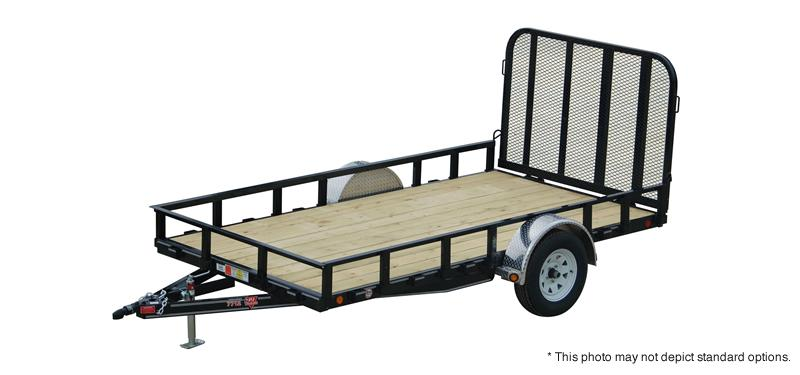 "2019 77x12 SA PJ Trailers 12'x77"" Single Axle Channel Utility Trailer - Fold In Tailgate (GVW:  2995)"