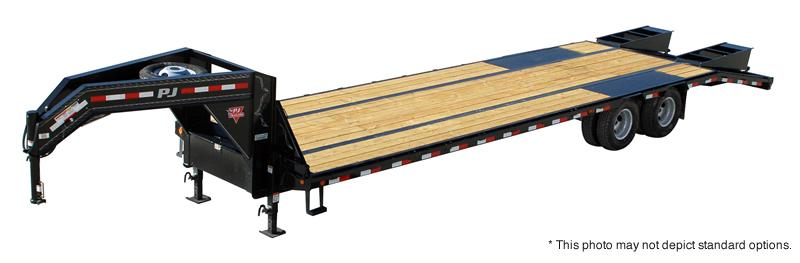 2019 102x32(27+5' Dovetail) PJ Trailers LD Low-Pro Flatdeck with Duals Trailer - w/ 2 Flip-over Monster Ramps (GVW: 25000)