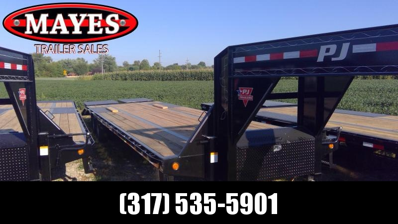 2020 30 Foot (25+5) PJ Trailers LD302 Equipment Trailer - Flatdeck - Gooseneck - Toolbox - Flip Over Monster Ramps (GVW:  25000)