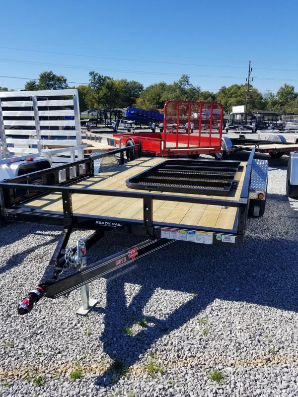2018 83x12 PJ Trailers U8 Utility Trailer - Straight Deck w/ 4' Fold-up Gate (GVW: 2995)(ATV Ramps)