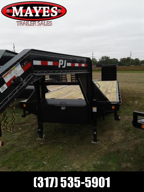2019  32' PJ Trailers FD302 Gooseneck Equipment Trailer - Flip Over Monster Ramps (GVW:  25000)