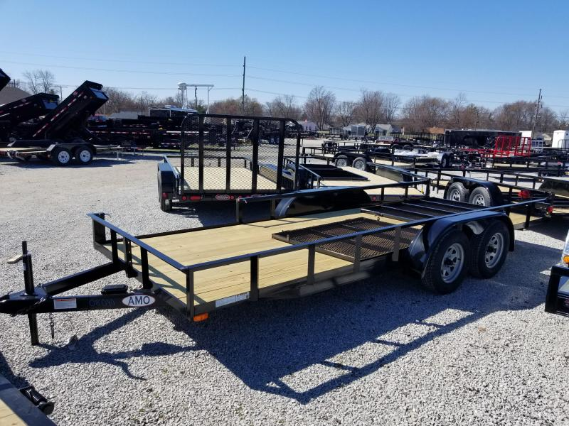 2018 76x18 American Manufacturing Operations AL16TTBBN Utility Trailer - w/ 4' Gate (GVW: 7000)(Side Gate)