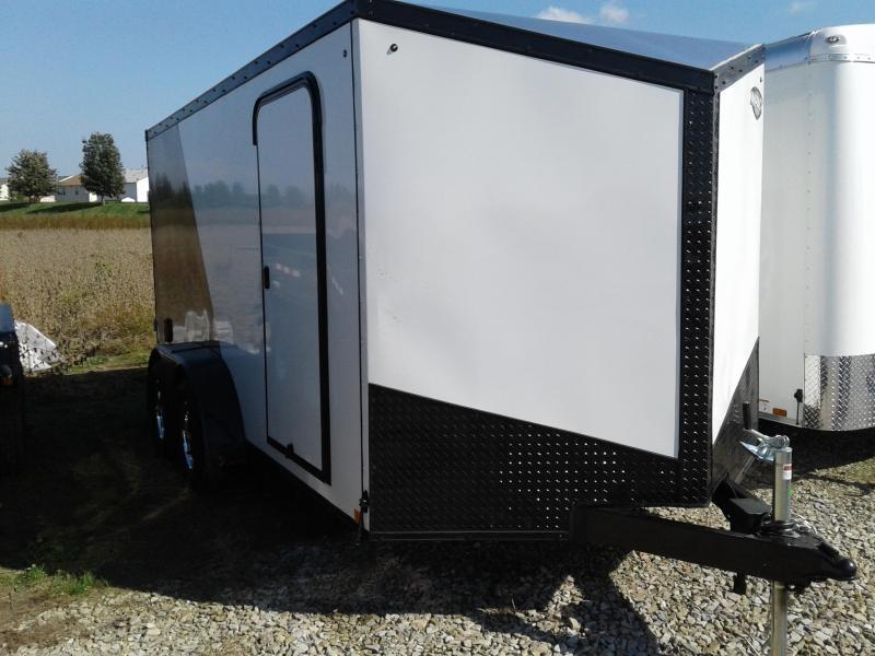 2019 7x14 Impact Trailers ITB714TA Enclosed Cargo Trailer - White/Charcoal - Ramp Door (GVW:  7000#)