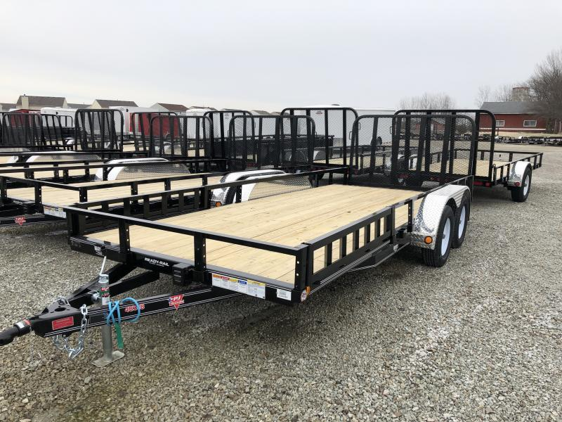 "2019 PJ Trailers 18'x83"" Tndm Axle Channel Utility Trailer - Rear Gate - ATV Ramps (GVW:  7000)"
