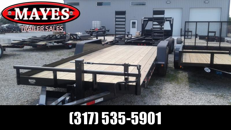 2020 B-B 20 Foot Angle Iron BCT2014E Equipment Trailer - Flip Up Ramps (GVW:  14000)