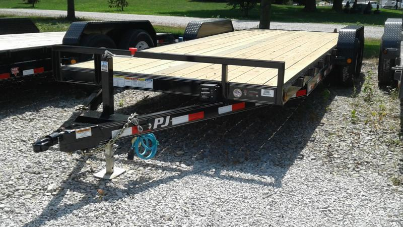 2020 22 (20+2) TA PJ Trailers CE222 Equipment Trailer - Rear Slide In Ramps (GVW:  9899)