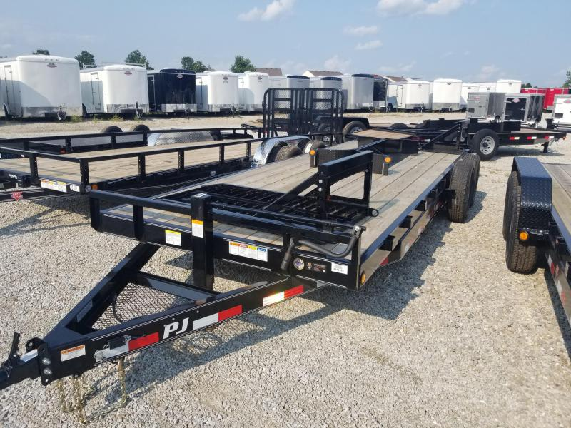 "2019 83x22(20+2' Dovetail) PJ Trailers CC 6"" Channel Equipment Trailer - w/ 31x66 HD Fold-up Ramps (GVW: 14000)"