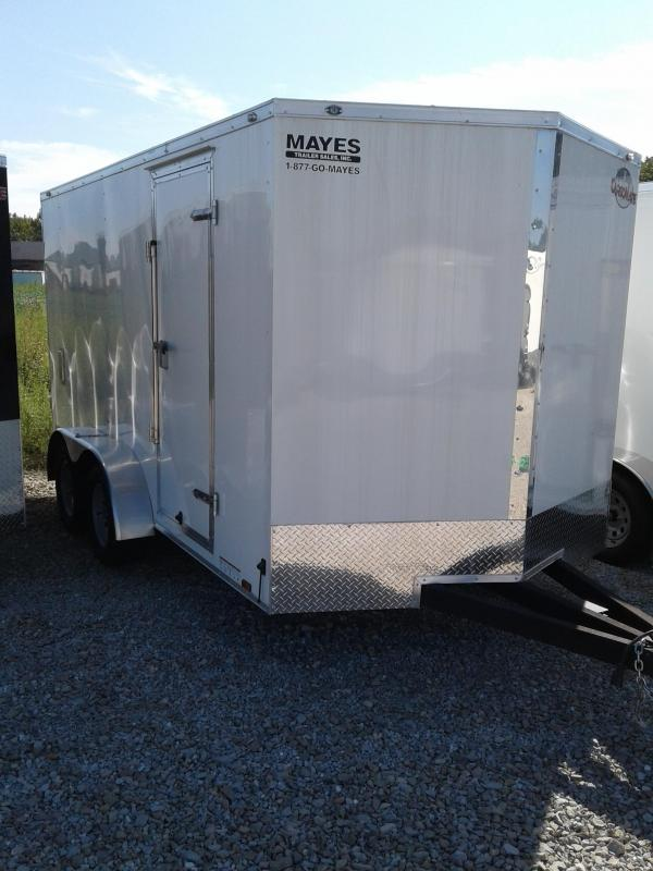 "2019 7x14 Cargo Mate EHW714TA2 Enclosed Cargo Trailer - White (RD)(GVW: 7000)(6"" Extra Height)"