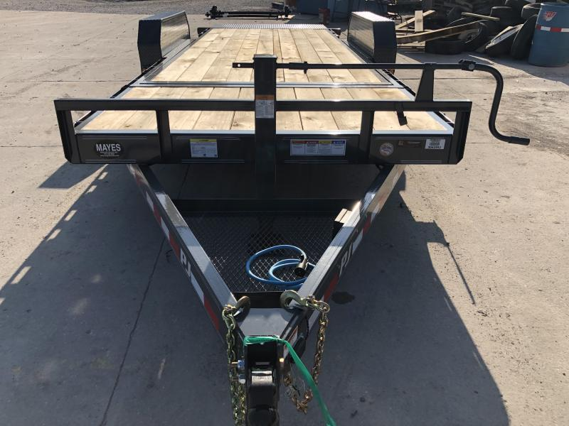 2020 16 Foot (14+2) TA PJ Trailers T6202 Equipment Trailer - Dovetail - 5 Foot Fold Up Ramps (GVW:  14000)