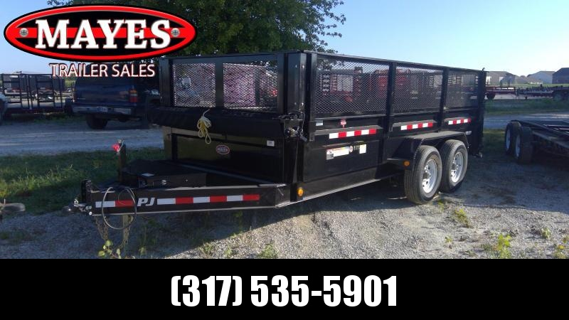 2019 83x16 TA PJ Trailers DJ162 Dump Trailer - 24 Inch Sides with 3 way Gate plus 24 Inch Mesh Sides - 6 Inch Cylinder Upgrade (GVW:  14000)