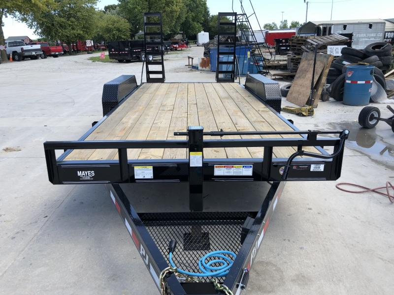 2020 83x18 (16+2) TA PJ Trailers CC182 Equipment Trailer - 6 Inch Channel - 5 Foot Fold Up Ramps (GVW:  14000)